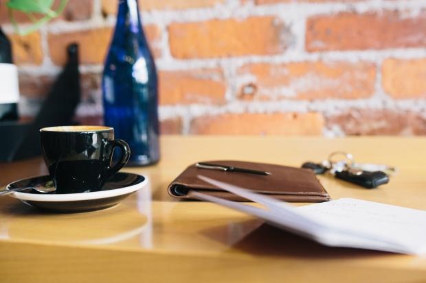 coffee, pen, paper, keys